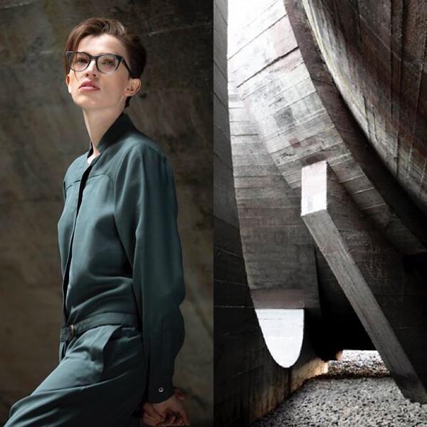 Collage aus Veronika Wildgruber Kampagnenfoto und Architekturfoto, die eine gemeinsame Bildsprache haben.