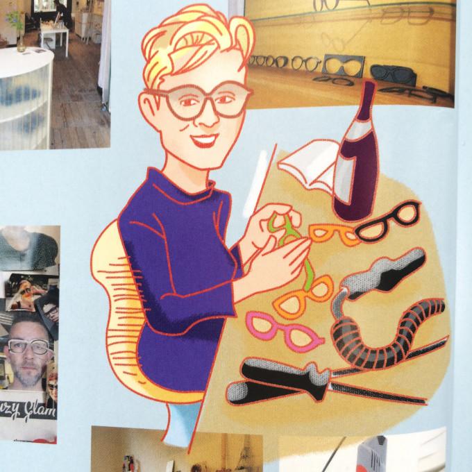 Susanne Klemm an ihrem Arbeitstisch als farbenfrohe Illustration.