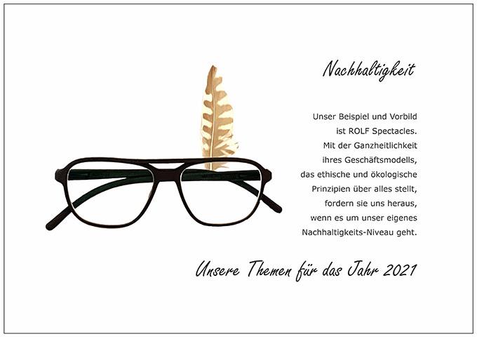 Der BELLEVUE Wunsch Nachhaltigkeit mit einer 100 % nachhaltigen Brille aus Biomaterial von ROLF Spectacles.