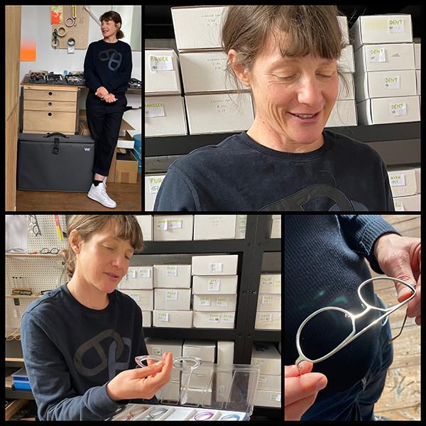 Collage aus Portraits von Veronika Wildgruber in ihrem Atelier in Berlin.