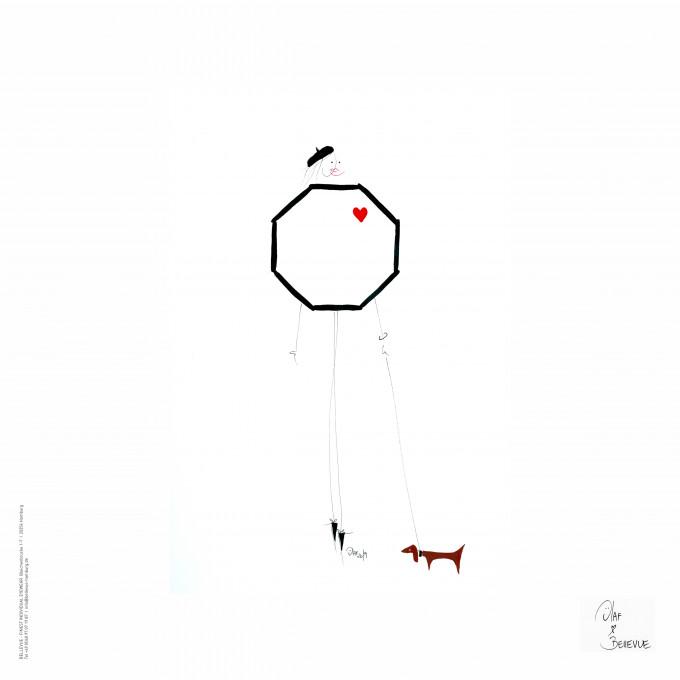 Weißes BELLEVUE Mikrofasertuch mit einer Illustration von Olaf Borchard. Eine Miss BELLEVUE, deren Körper aus dem Logo von BELLEVUE entwickelt mit einem kleinen roten Herz.