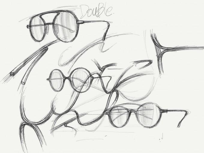 Skizzen von Brillenmodellen, die die Linienführung der Springseil Figur Double Dutch aufnehmen.