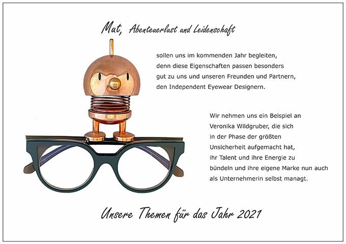 Der BELLEVUE-Wunsch Mut, Abenteuerlust und Leidenschaft mit einer Brille von Veronika Wildgruber, die sich im Jahrn 2021 selbstständig gemacht hat.