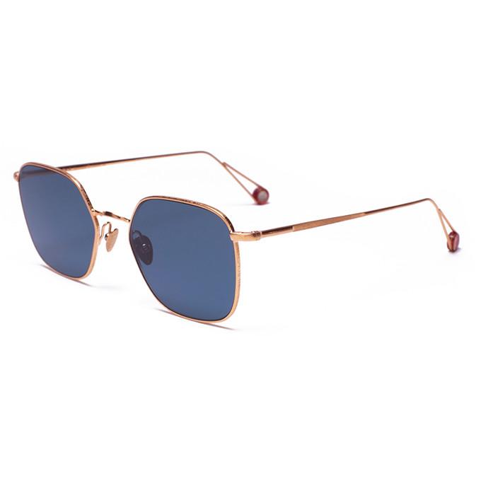 Goldene Metallbrille mit blauen Gläsern von Ahlem aus L.A.