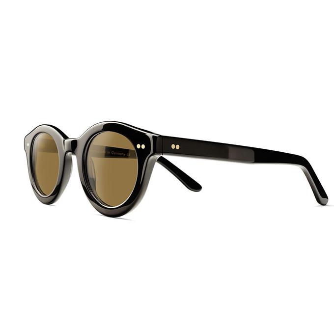 Schwarze, dickrandige, kleine und runde Sonnenbrille mit brauenen Gläsern von Mapleton.