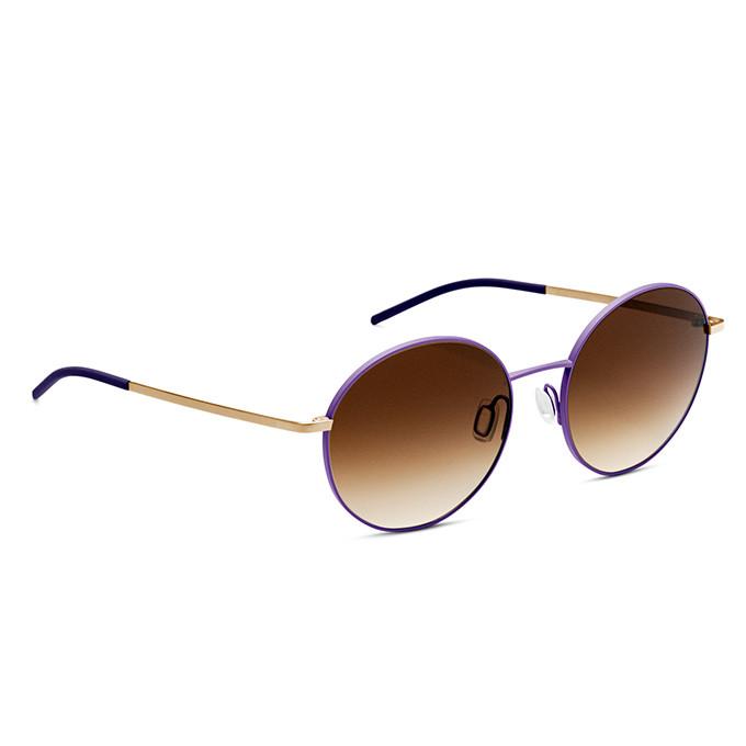 Runde Sonnenbrille mit farbigen Rand in flieder von Orgreen.