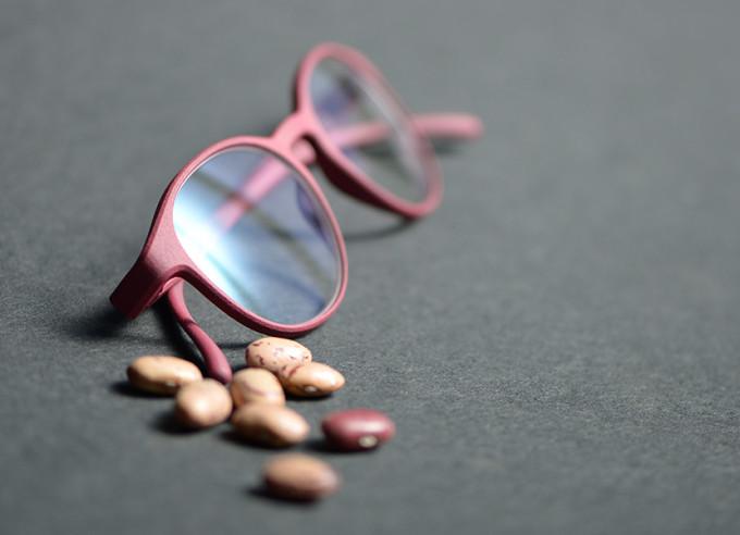 Eine rote Brille der ROLF Substance Kollektion. Sie besteht zu 100 % aus der Bohne des Rhizinusbaums und ist damit extremnachhaltig.
