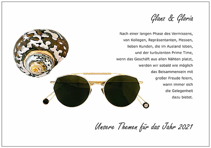 Der BELLEVUE Wunsch Glanz und Gloria mit einer goldenen Sonnenbrille von Ahlem.
