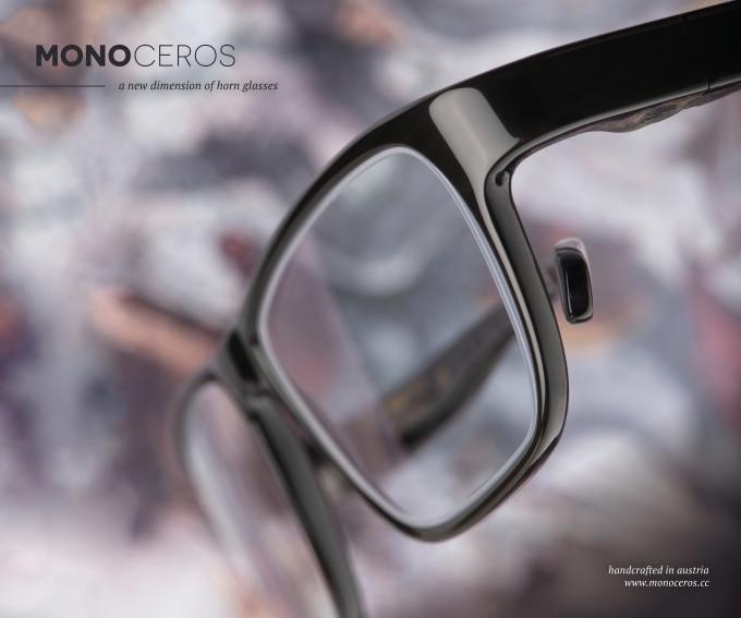 Ein Modell der ROLF Monoceros Brillen aus purem Büffelhorn, ohne Verwendung von Metall.