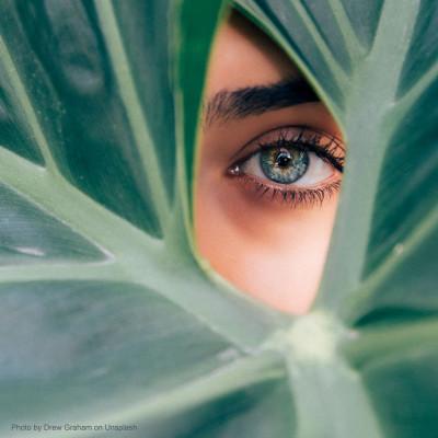 Das Auge einen jungen Frau mit einer Kontaktlinse sieht durch ein Lock eines großen Blattes einer Pflanze hindurch.