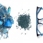 Nachhaltige Brillenmaterial aus Fischernetzen, zu Granualt zerkleinert.