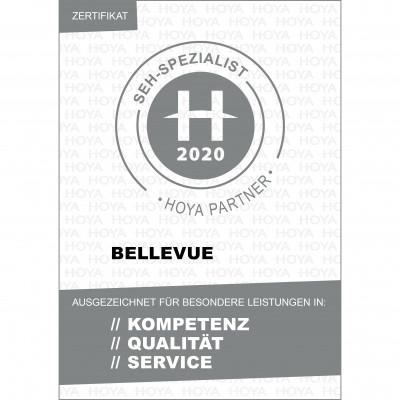Zertifkat des Premium Glasherstellers HOYA als Seh-Spezialist für BELLEVUE.
