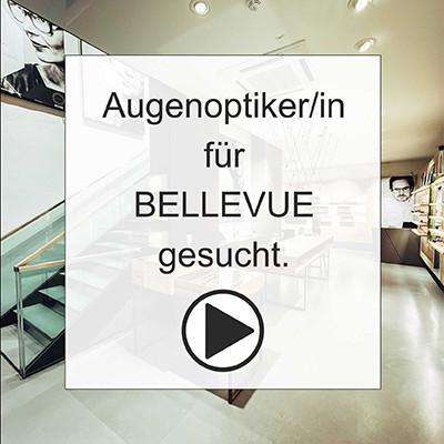 Titelbild für Augenoptiker Stellenanzeige als Video mit Blick in das Geschäft und einem Startbutton für das Video.
